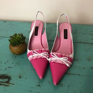 Escada • Pink and White Slingback Heels